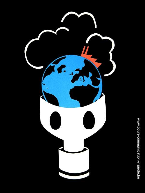 globe terrestre avec masque à gaz