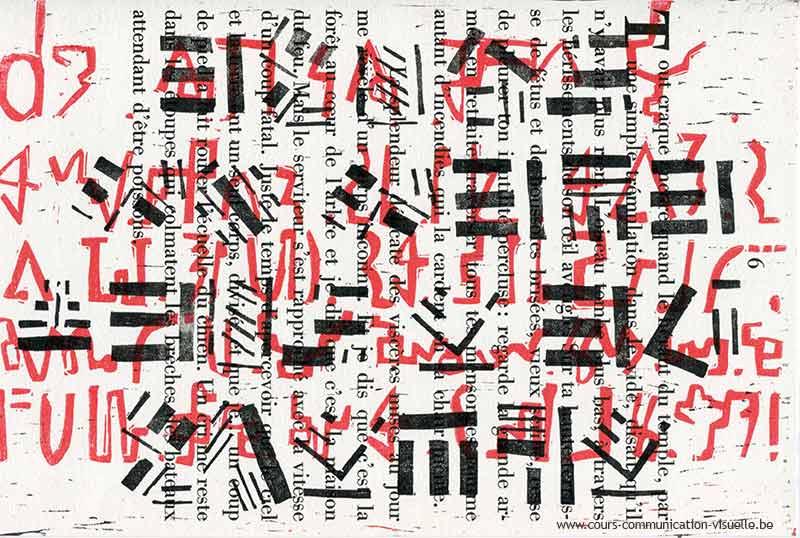 Recherche 29 de palimpseste en linogravure rouge et noir